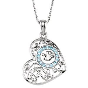 "Sterling Silver Handprints Boy 18"" Necklace"